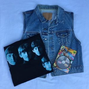 Vintage Levi's Vest, Beatles Tee & Pin Set